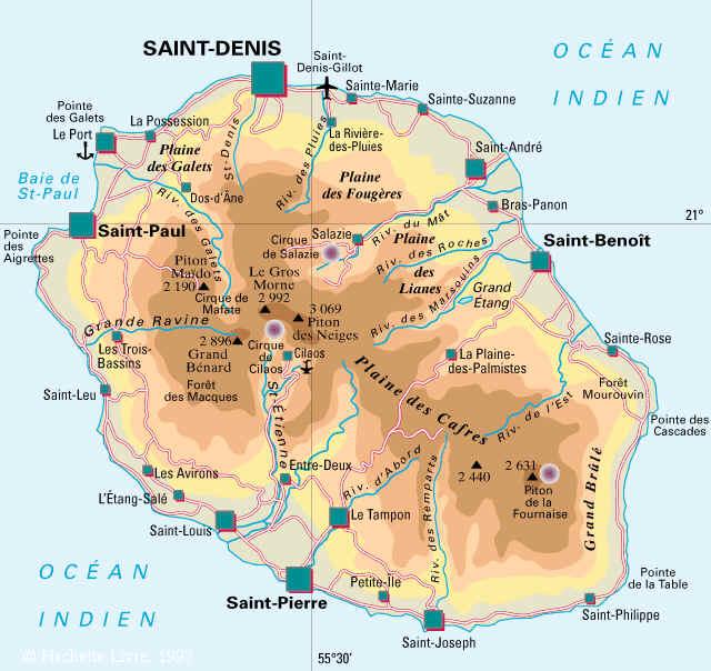 carte de la reunion détaillée Carte détaillée île de la Réunion